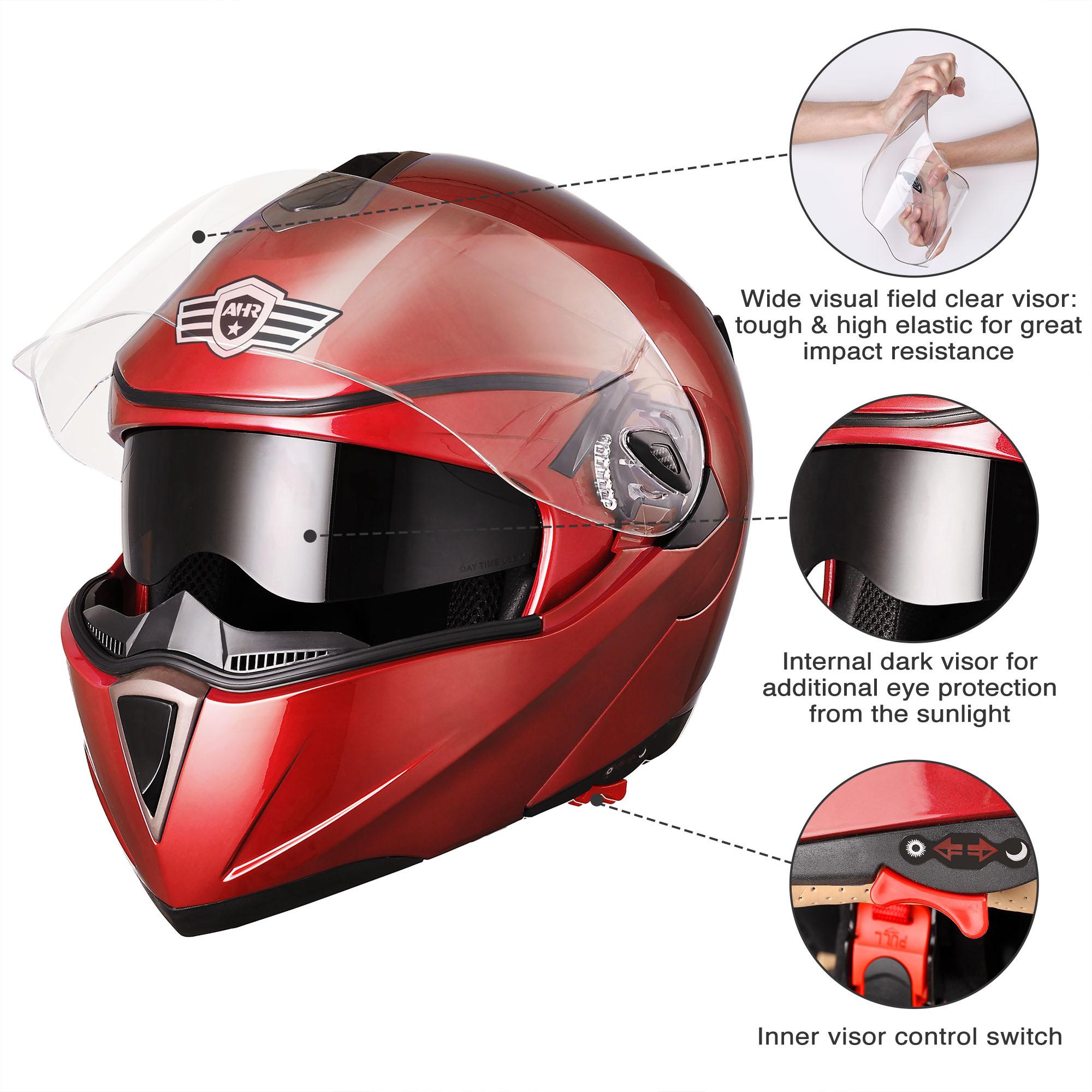 miniature 167 - DOT Flip up Modular Full Face Motorcycle Helmet Dual Visor Motocross Size Opt