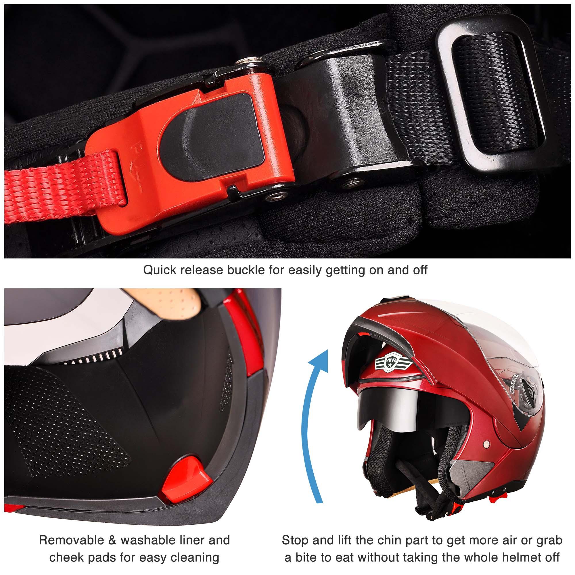 miniature 168 - DOT Flip up Modular Full Face Motorcycle Helmet Dual Visor Motocross Size Opt