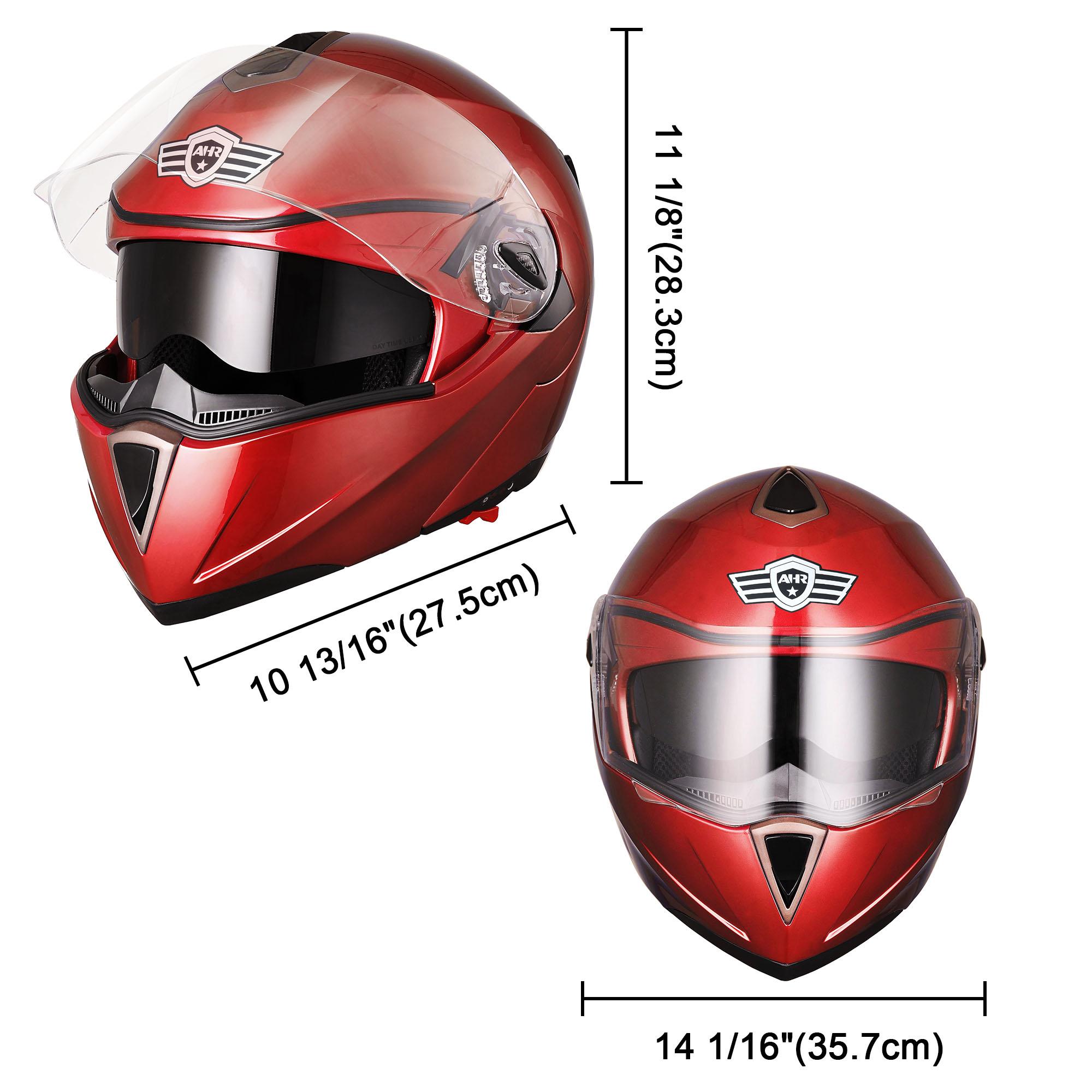 miniature 161 - DOT Flip up Modular Full Face Motorcycle Helmet Dual Visor Motocross Size Opt