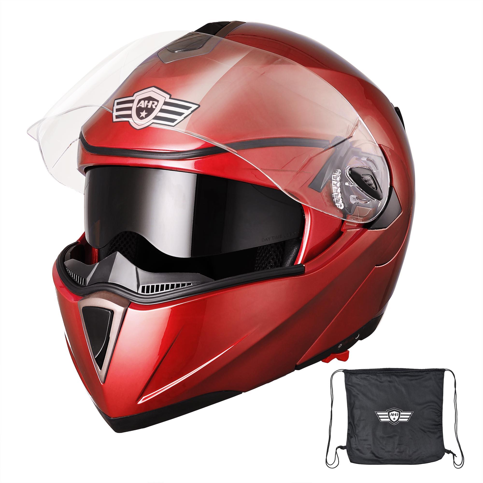 miniature 170 - DOT Flip up Modular Full Face Motorcycle Helmet Dual Visor Motocross Size Opt