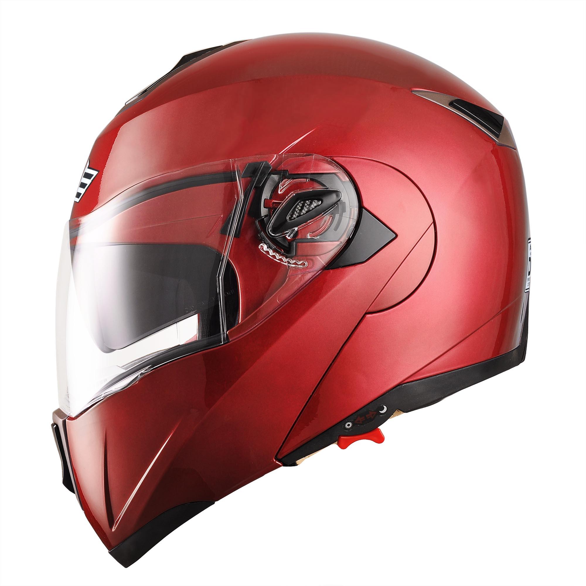 miniature 173 - DOT Flip up Modular Full Face Motorcycle Helmet Dual Visor Motocross Size Opt