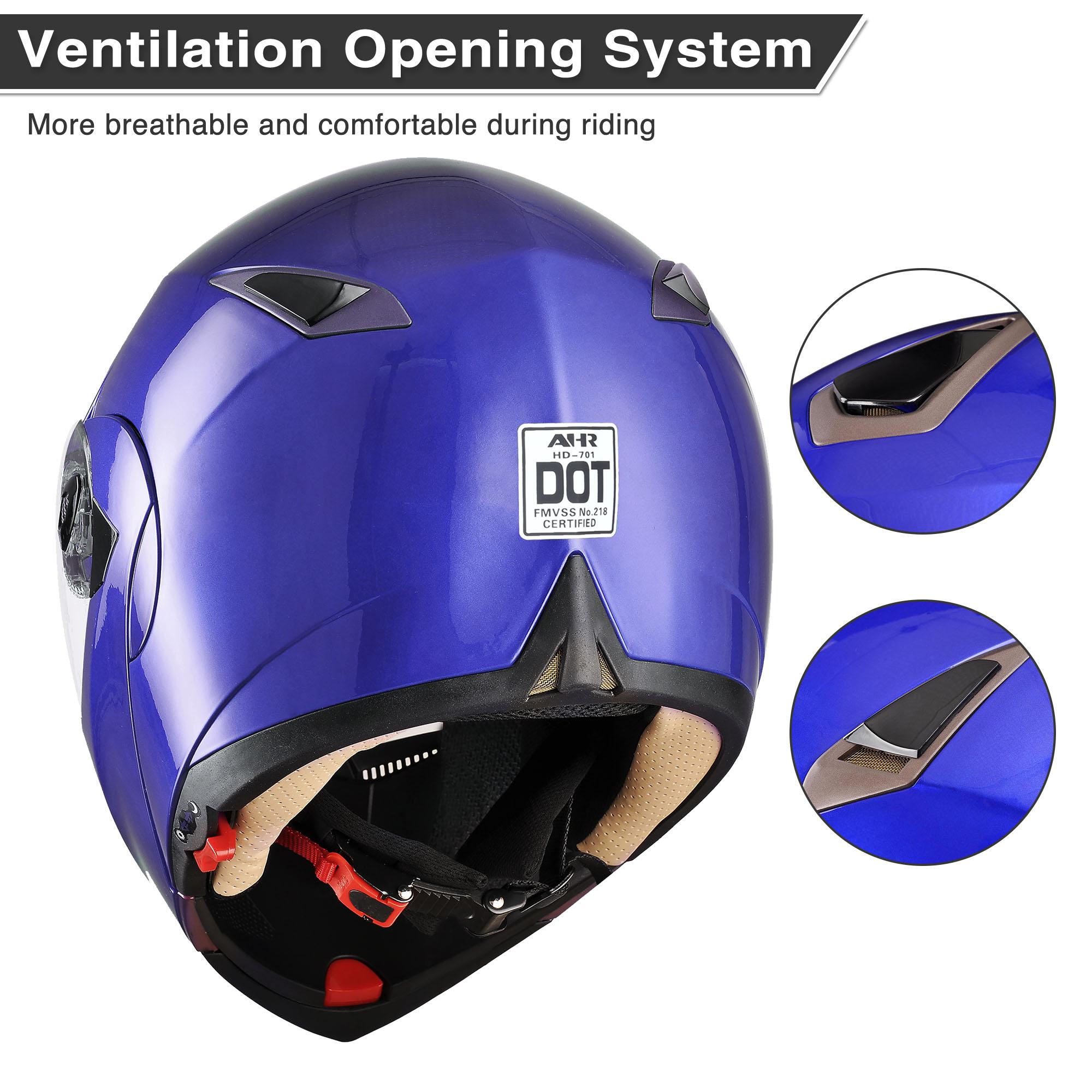 miniature 146 - DOT Flip up Modular Full Face Motorcycle Helmet Dual Visor Motocross Size Opt