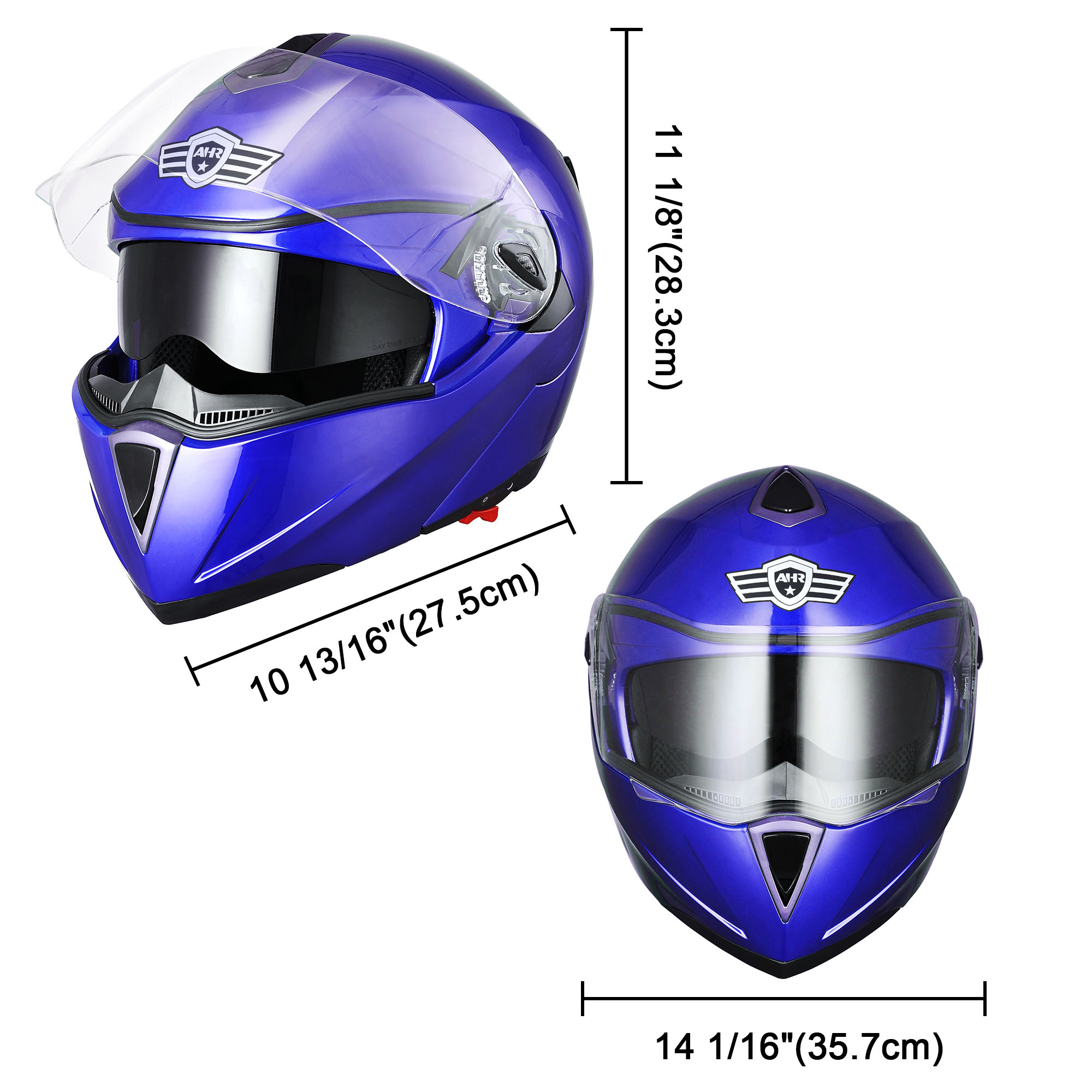 miniature 138 - DOT Flip up Modular Full Face Motorcycle Helmet Dual Visor Motocross Size Opt