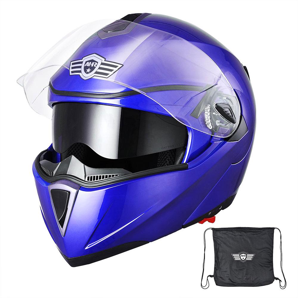 miniature 150 - DOT Flip up Modular Full Face Motorcycle Helmet Dual Visor Motocross Size Opt