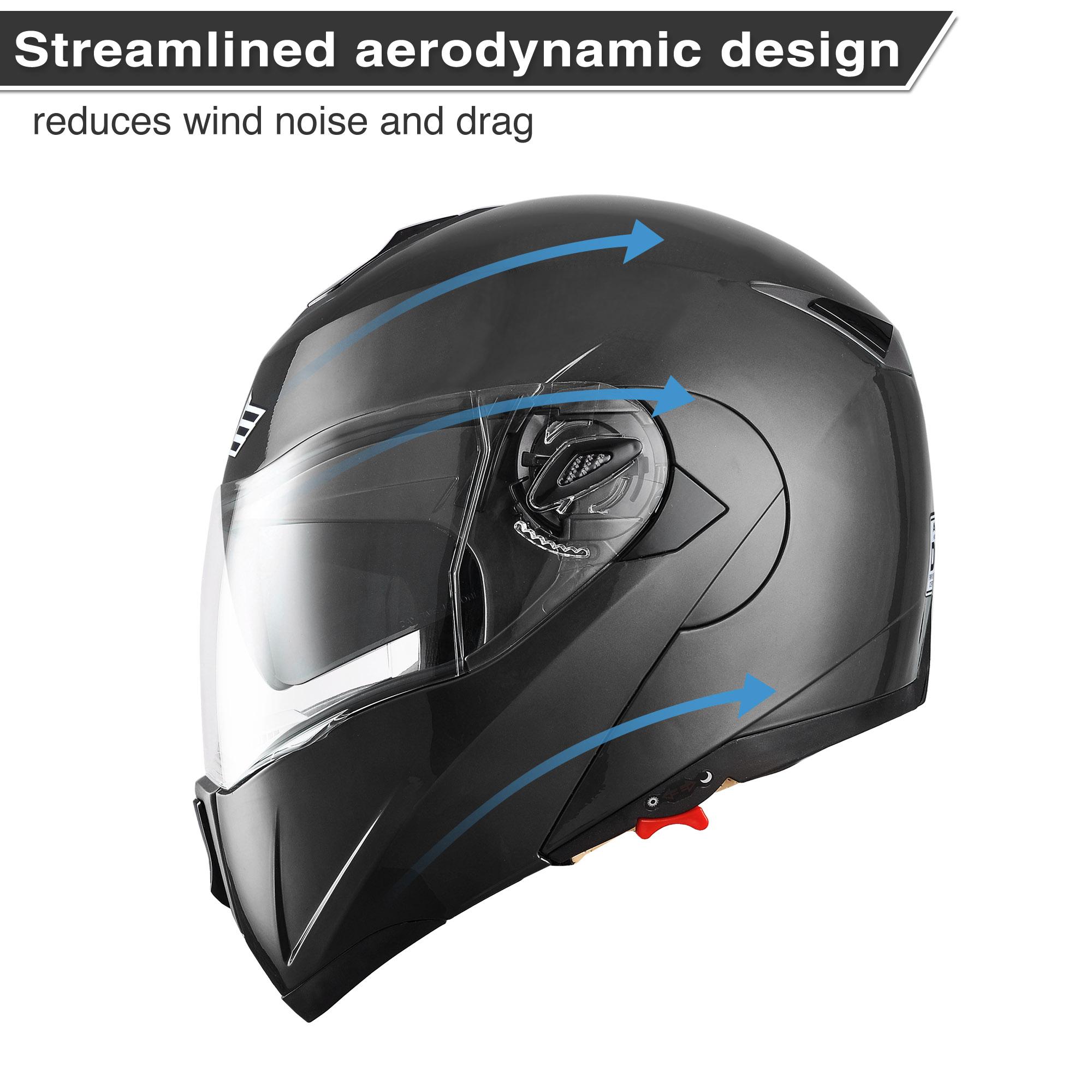 miniature 132 - DOT Flip up Modular Full Face Motorcycle Helmet Dual Visor Motocross Size Opt