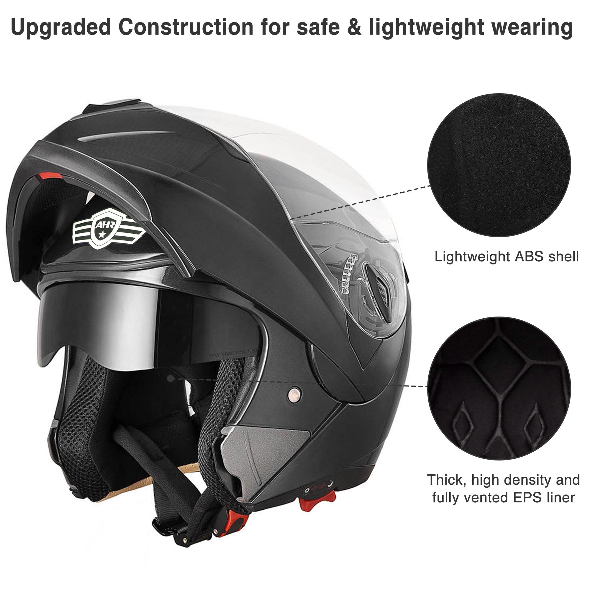 miniature 133 - DOT Flip up Modular Full Face Motorcycle Helmet Dual Visor Motocross Size Opt