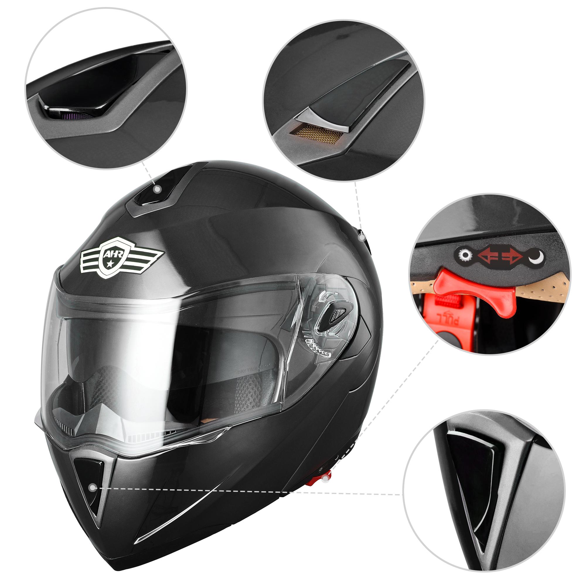 miniature 140 - DOT Flip up Modular Full Face Motorcycle Helmet Dual Visor Motocross Size Opt