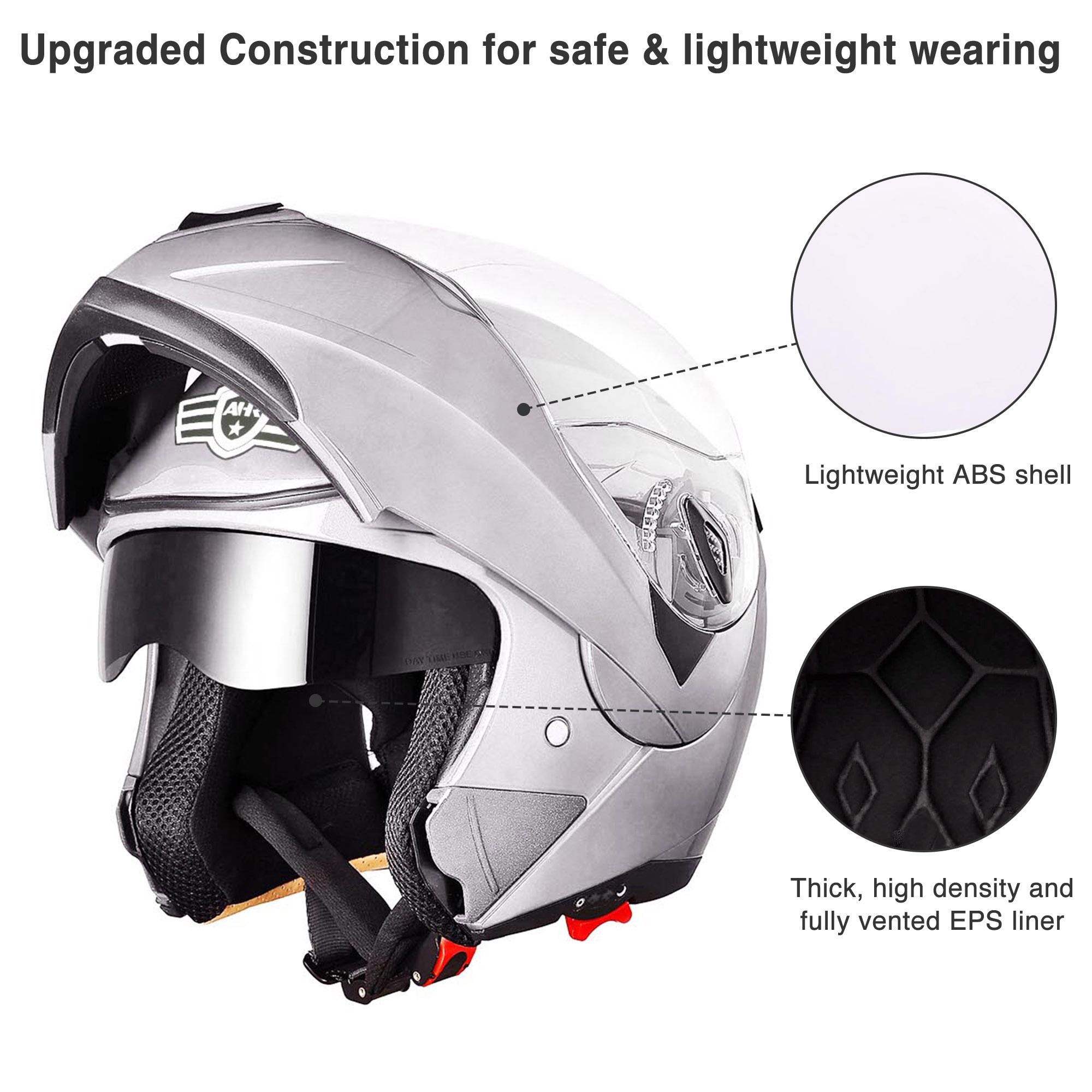 miniature 169 - DOT Flip up Modular Full Face Motorcycle Helmet Dual Visor Motocross Size Opt