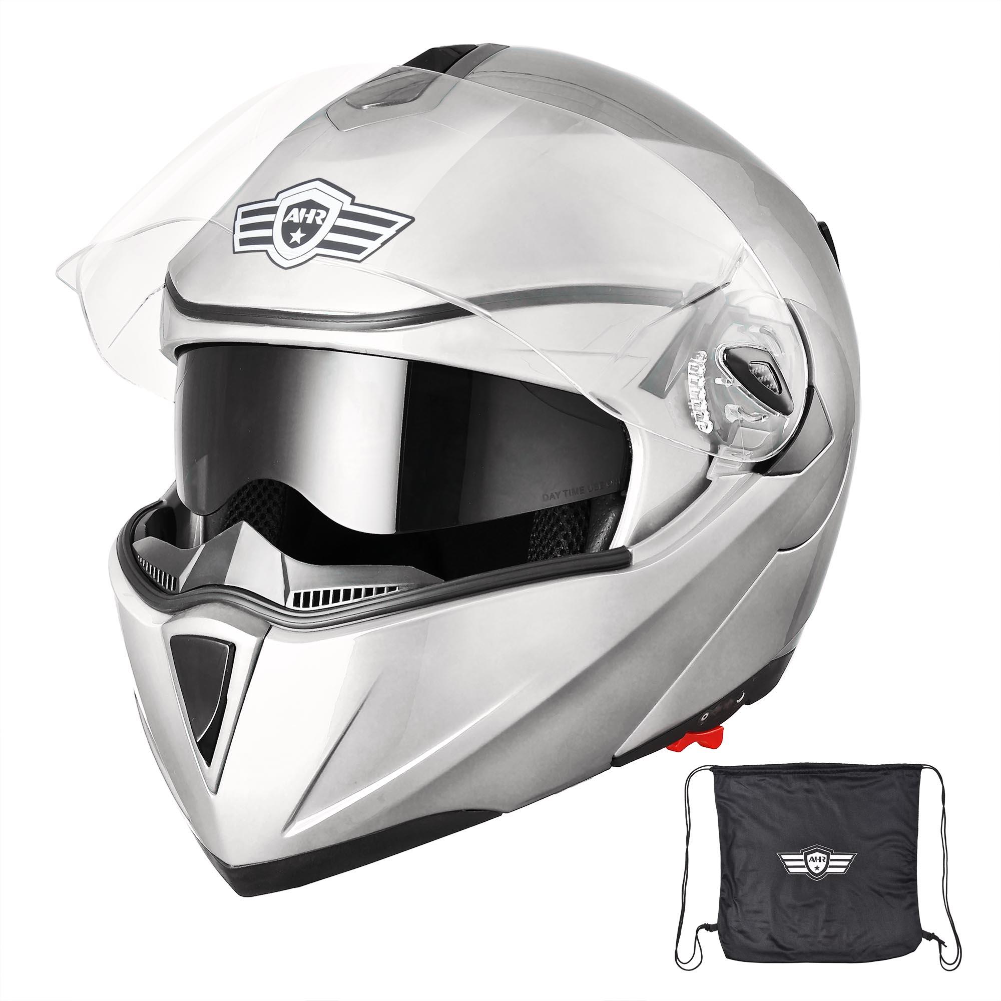 miniature 174 - DOT Flip up Modular Full Face Motorcycle Helmet Dual Visor Motocross Size Opt