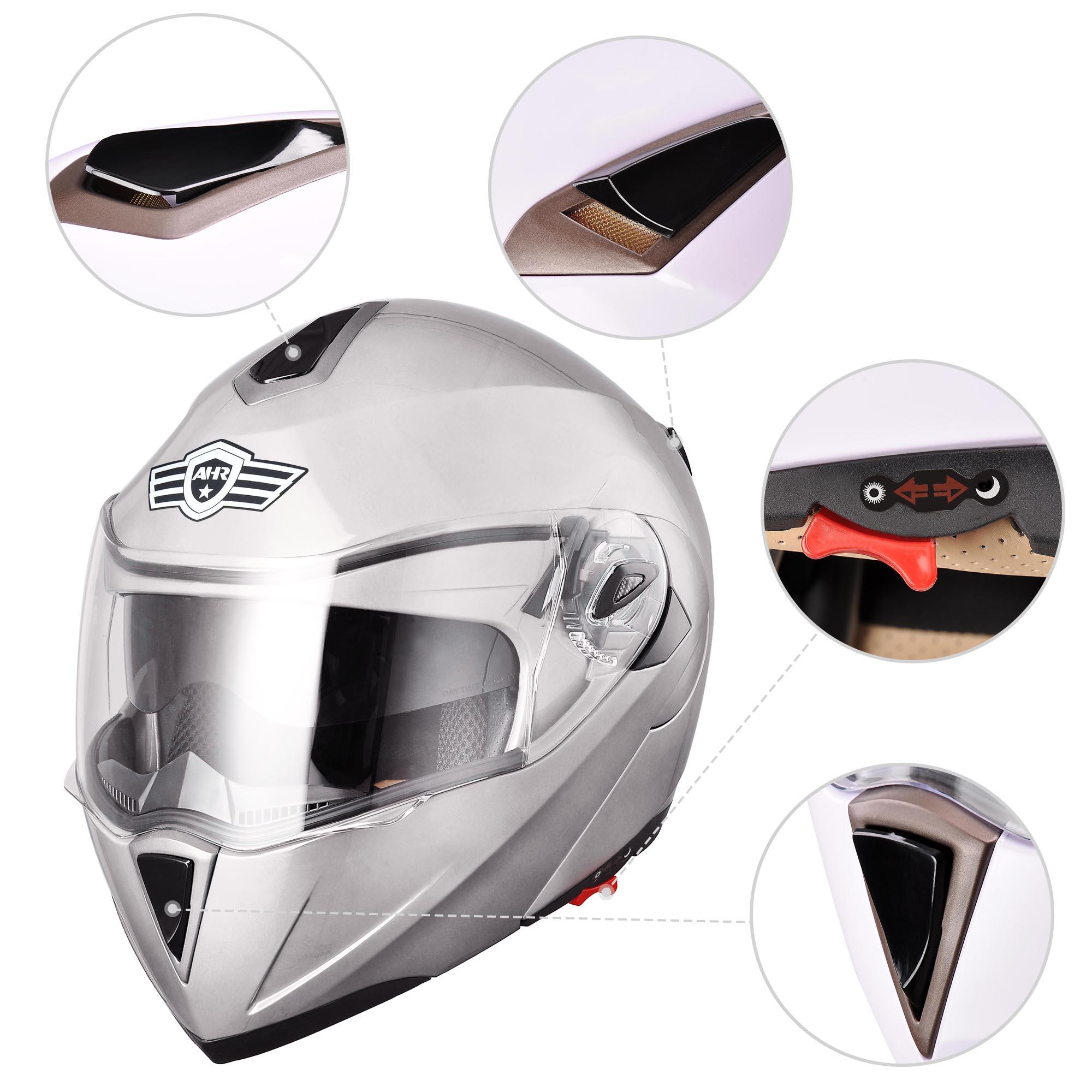 miniature 176 - DOT Flip up Modular Full Face Motorcycle Helmet Dual Visor Motocross Size Opt