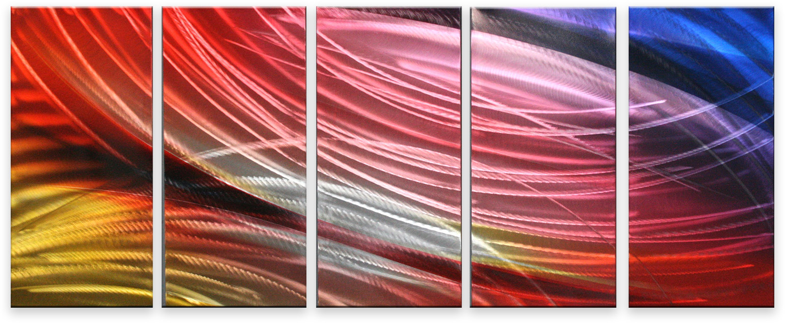 Metal Wall Art Abstract Modern Contemporary Wall Decor Handmade Color Stream 32112