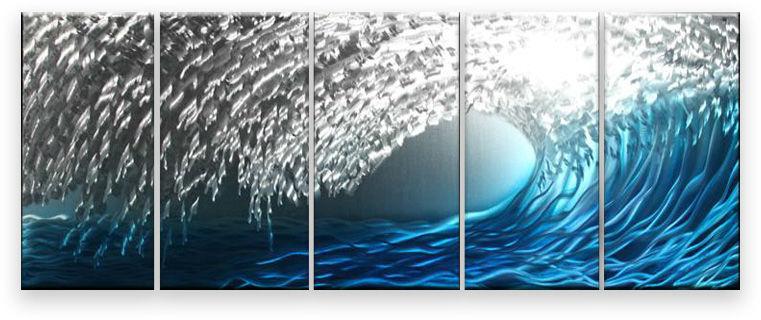 Metal Wall Art Abstract Modern Contemporary Wall Decor Handmade Blue Silver Waves MAG702