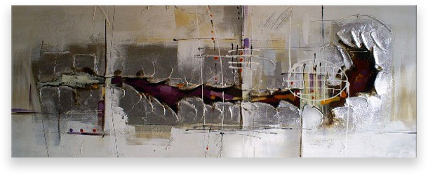Oil Painting Abstract Modern Contemporary  Handmade Art on Canvas Silver Tunnel MDZS-1317-12x36