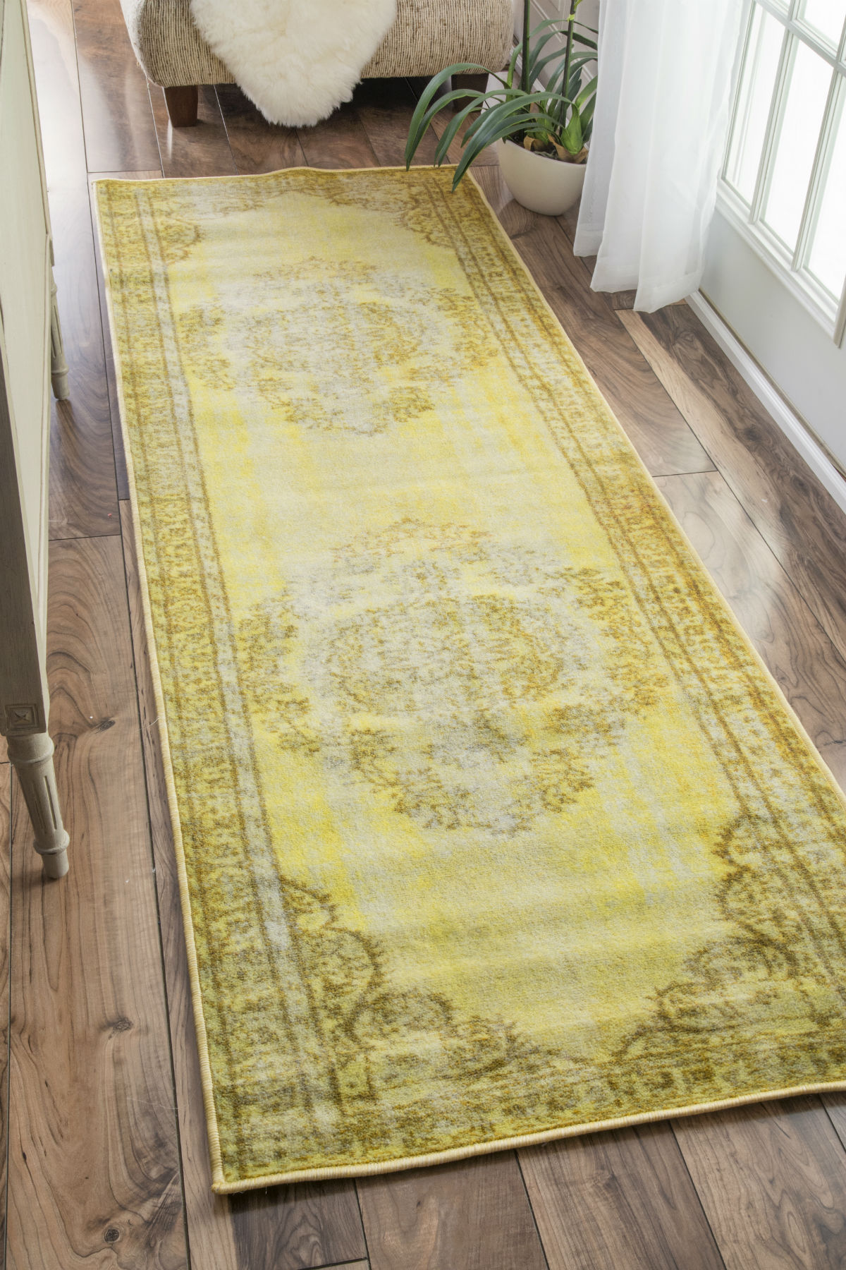 "NuLOOM Machine Made Vintage Inspired Overdyed Rug Rug Funky Yellow 2' 8"" x 8' DIRE1A-2808"
