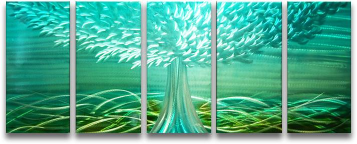 Metal Wall Art Abstract Modern Landscape Contemporary Handmade Blue Decor Tree CHB6014059