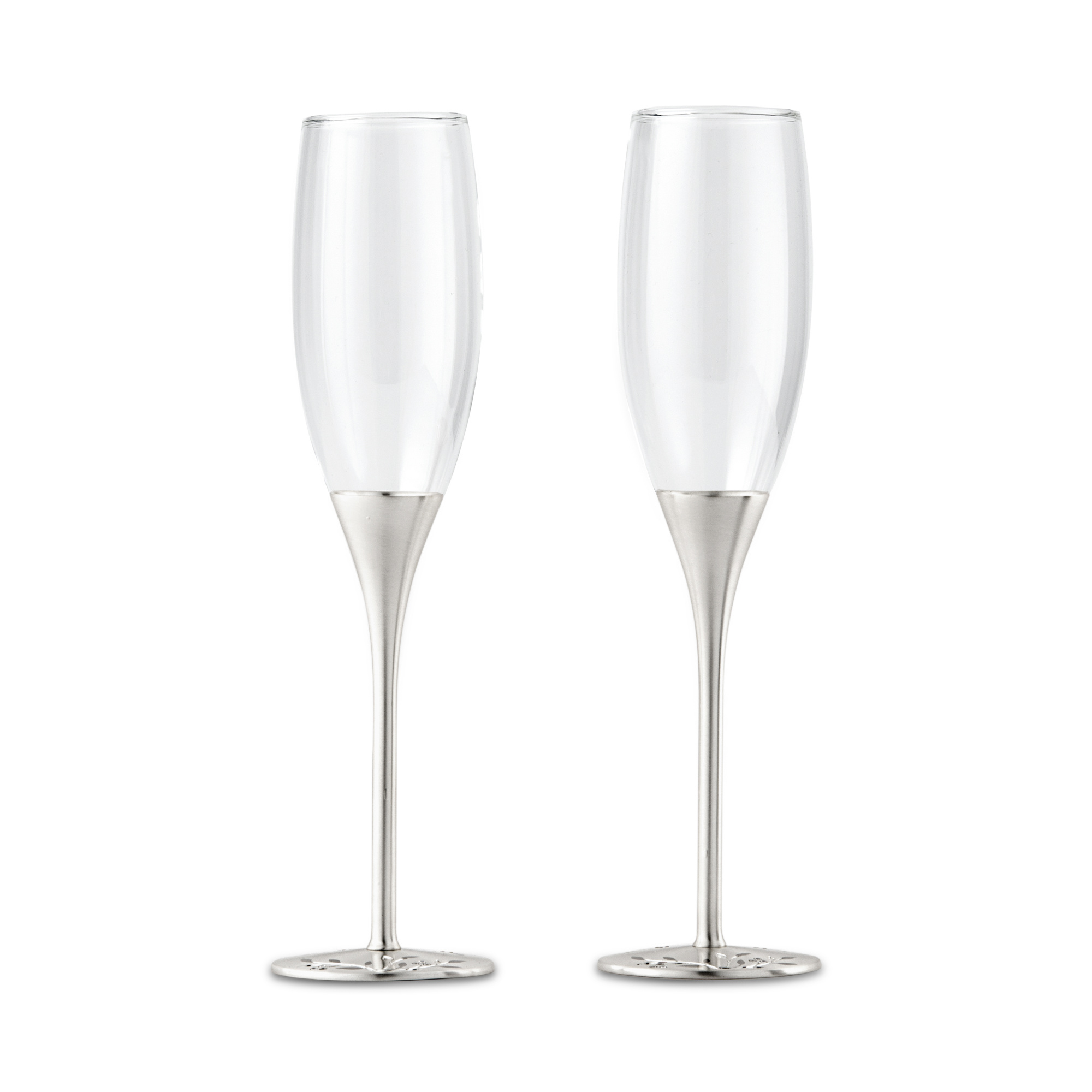 94bfb77b334 Image is loading Champagne-Glasses-with-Stone-Set-Base-Flutes-Silver