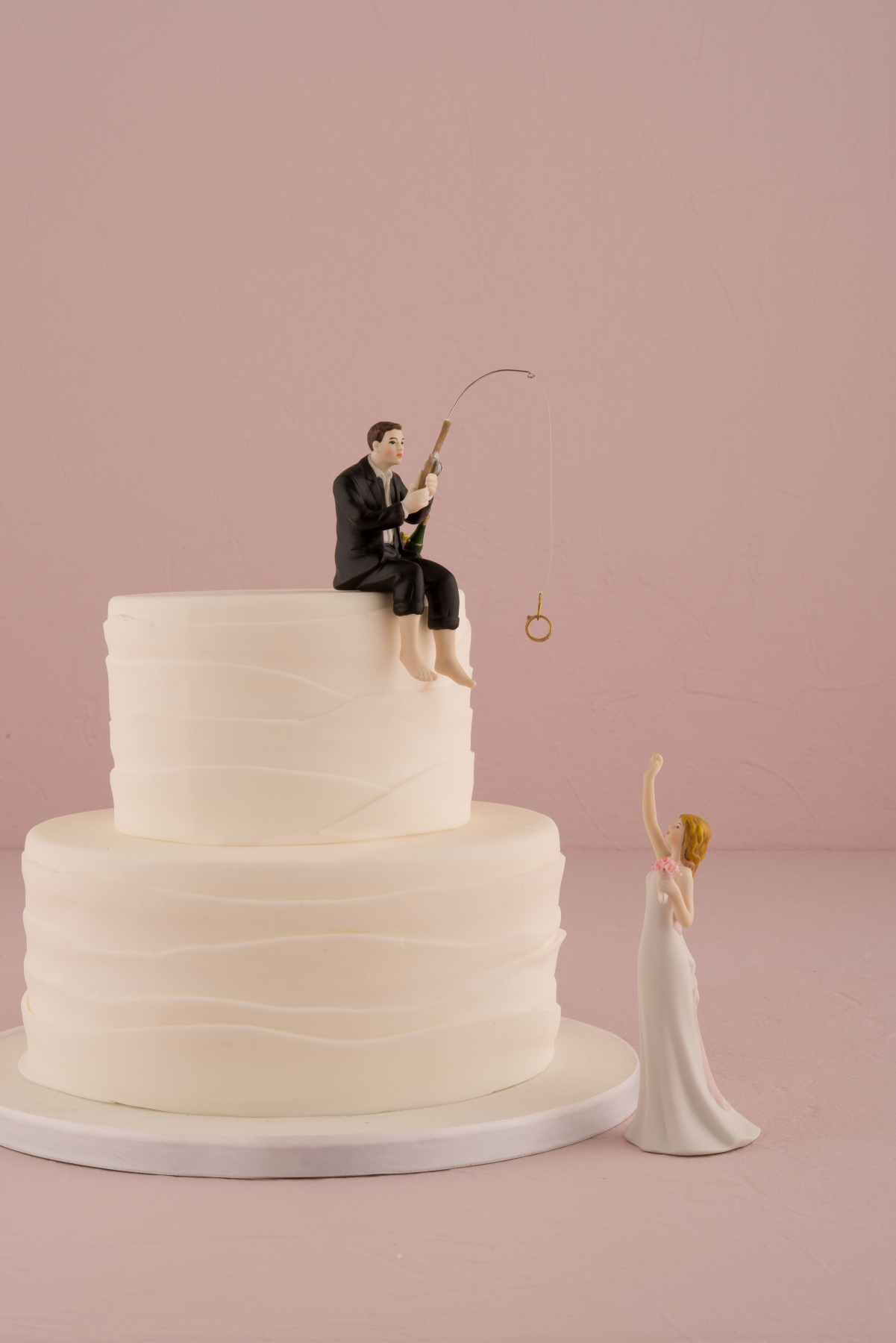 Cake Topper Hand Painted Porcelain Hooked on Love Groom Figure with ...