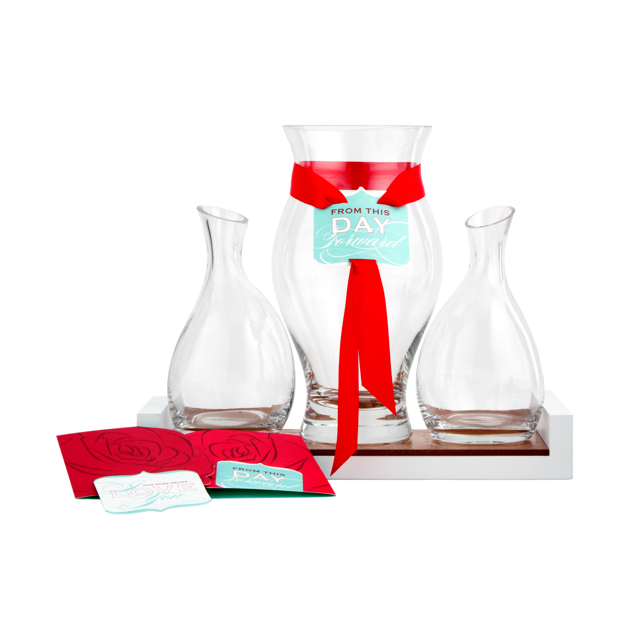 Ceremony Red Rose Vase Glass Set of 3