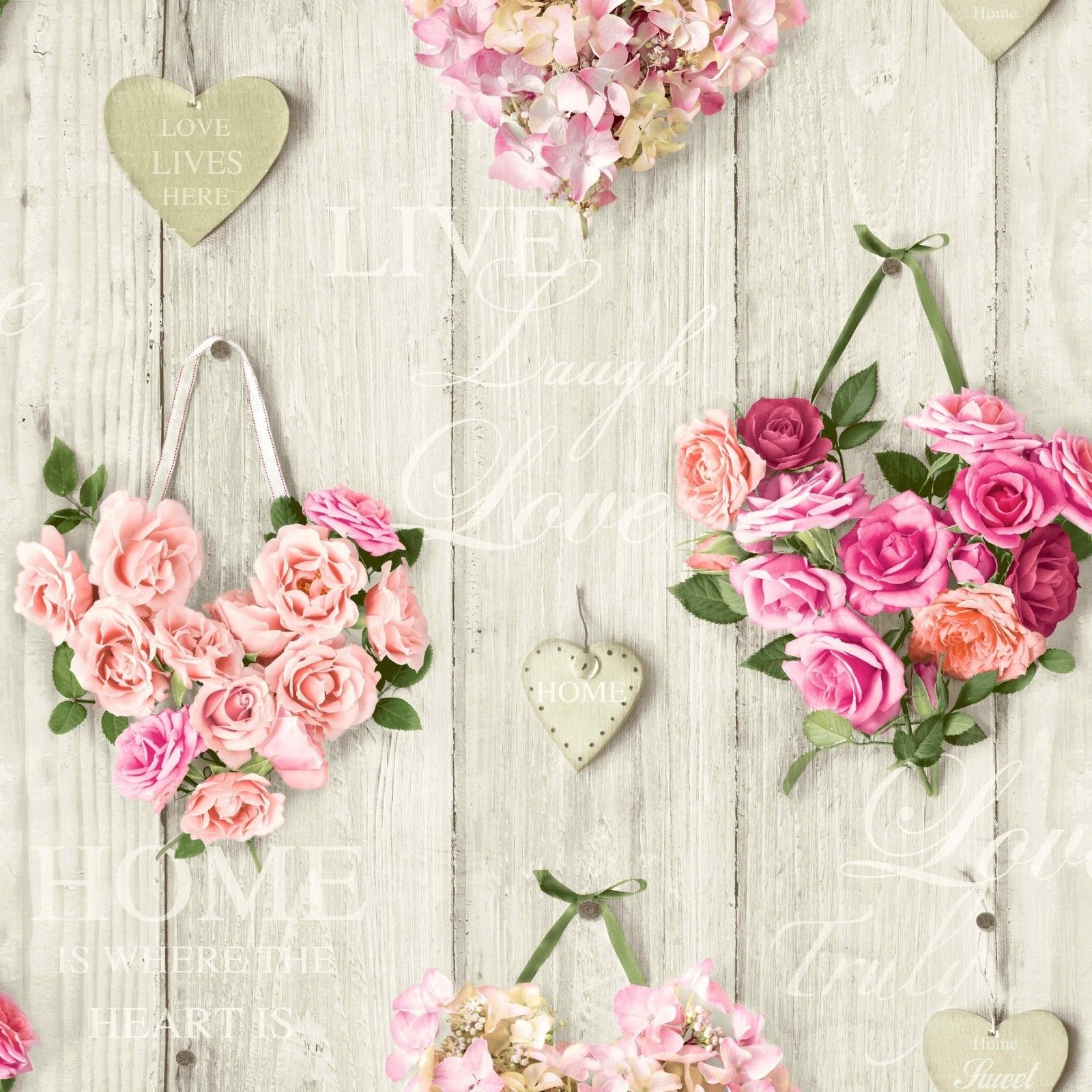 Pink Roses Wallpaper Flower Floral Bouquet Hearts Wood Panel