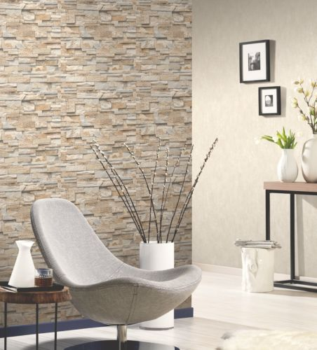 Split Face 3d Slate Brick Stone Effect Vinyl Wallpaper Paste The Wall 7 Colours Ebay