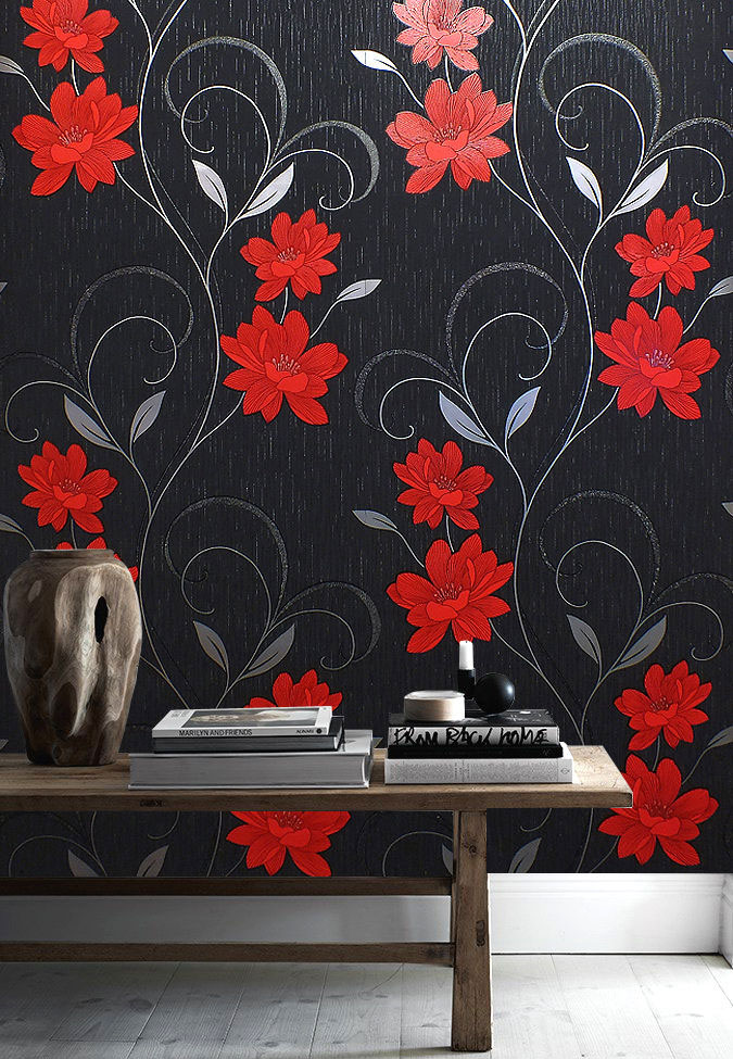 Details About Floral Wallpaper Flower Glitter Effect Embossed Metallic Silver Red Grey Black