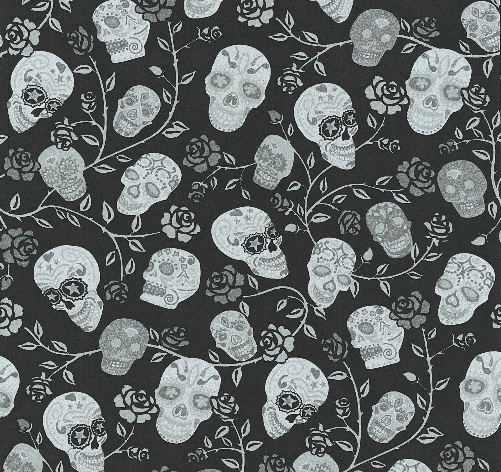 Skulls Wallpaper Black Silver Grey Floral Flowers Stars Glitter