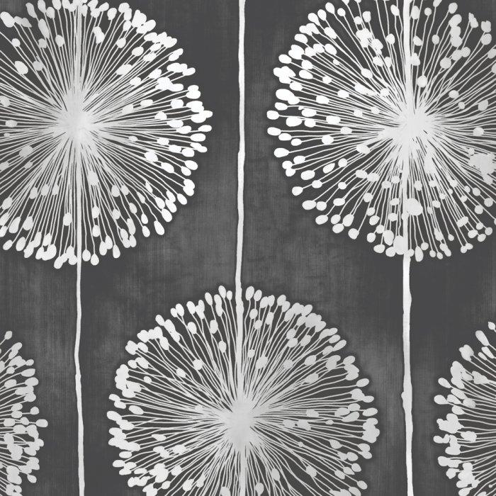 Dandelion flower wallpaper black metallic grey floral leaf paisley responsive image mightylinksfo