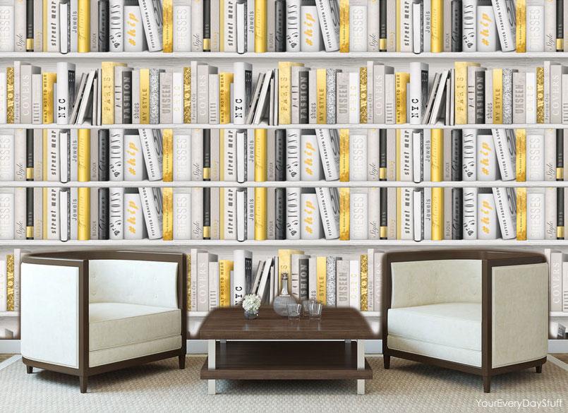Bookcase library wallpaper antique retro books study for Carta da parati libreria