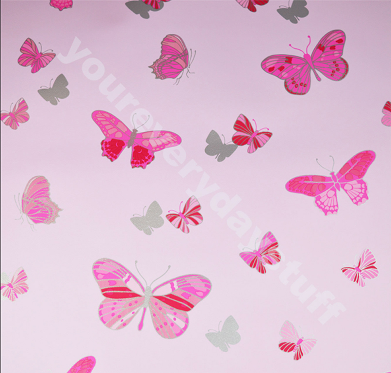 Details About Pink Butterfly Wallpaper Metallic Silver Girls Bedroom Washable Feature Debona