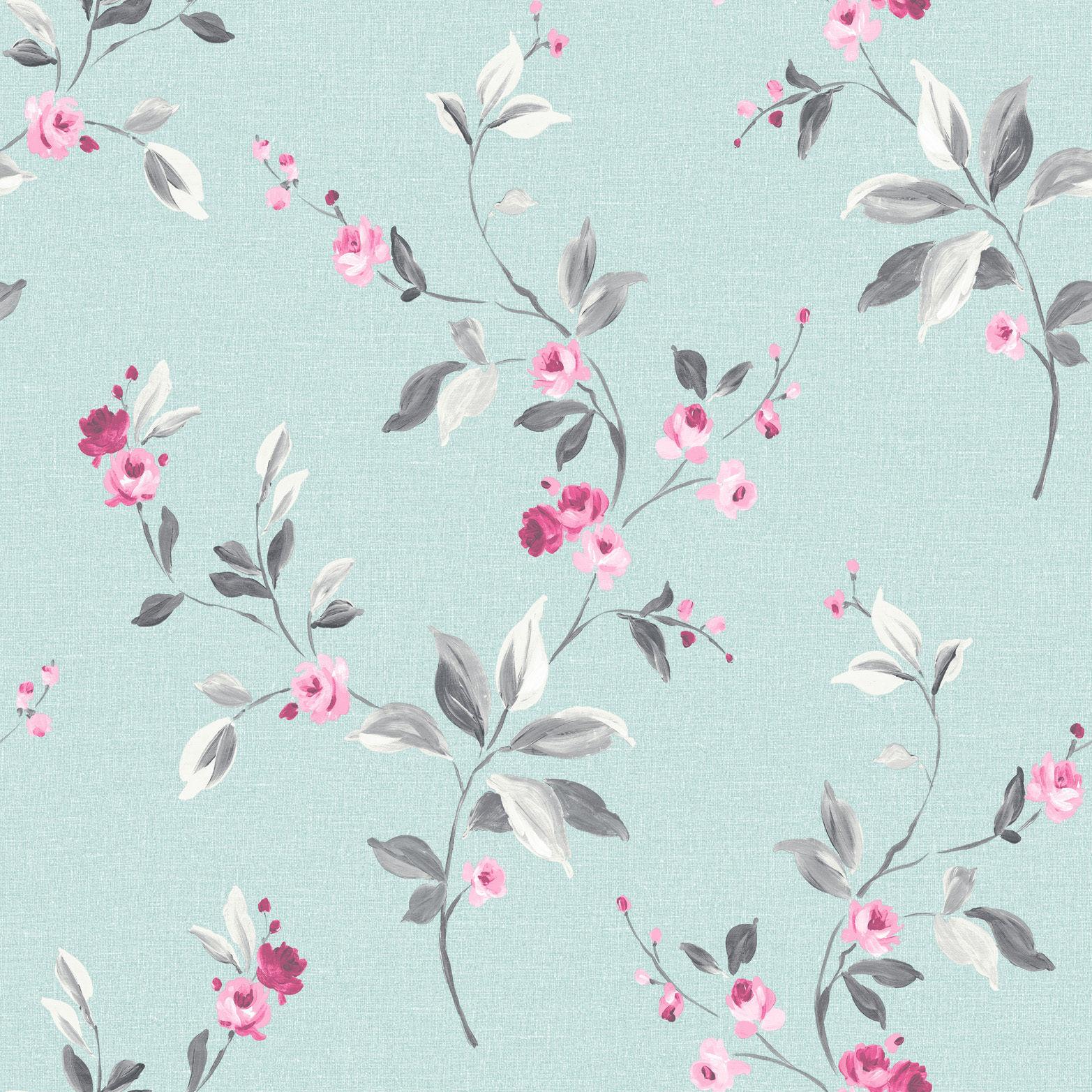 Flower Wallpaper Rasch Floral Tivoli Rose Duck Egg Blue Pink Ebay