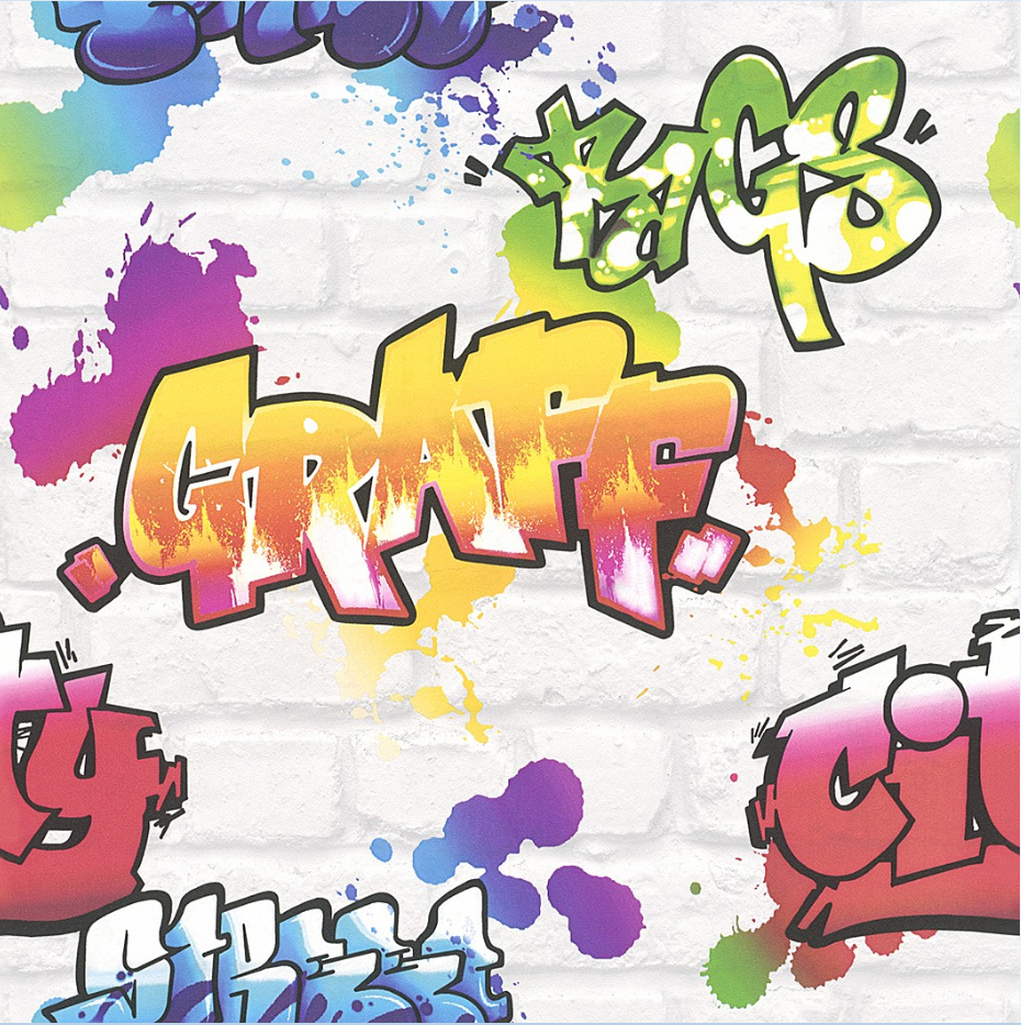 graffiti style wallpaper teenager kids spray paint art steet urban textured ebay. Black Bedroom Furniture Sets. Home Design Ideas