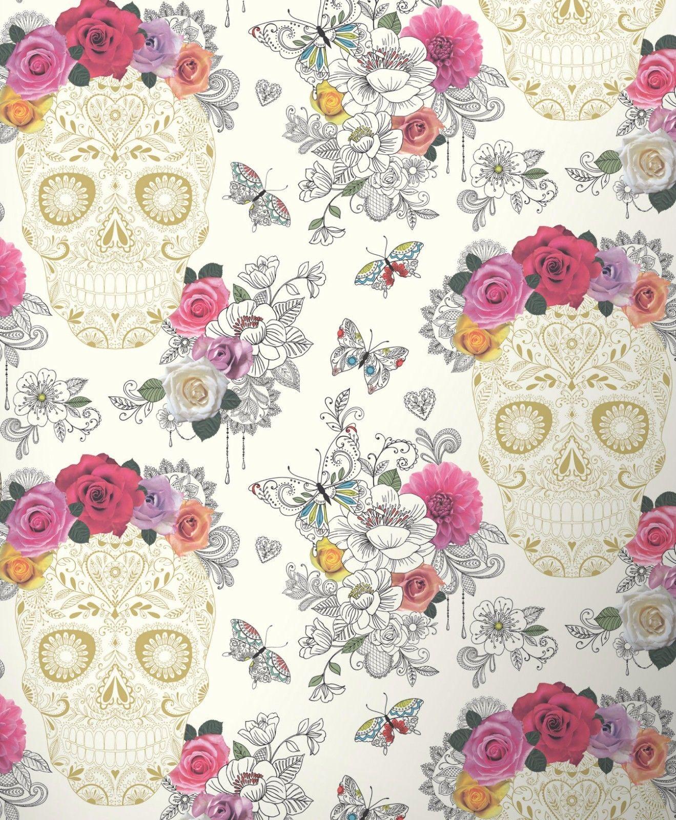 Flower Skull Floral Wallpaper Butterflies Art Hearts Roses Funky