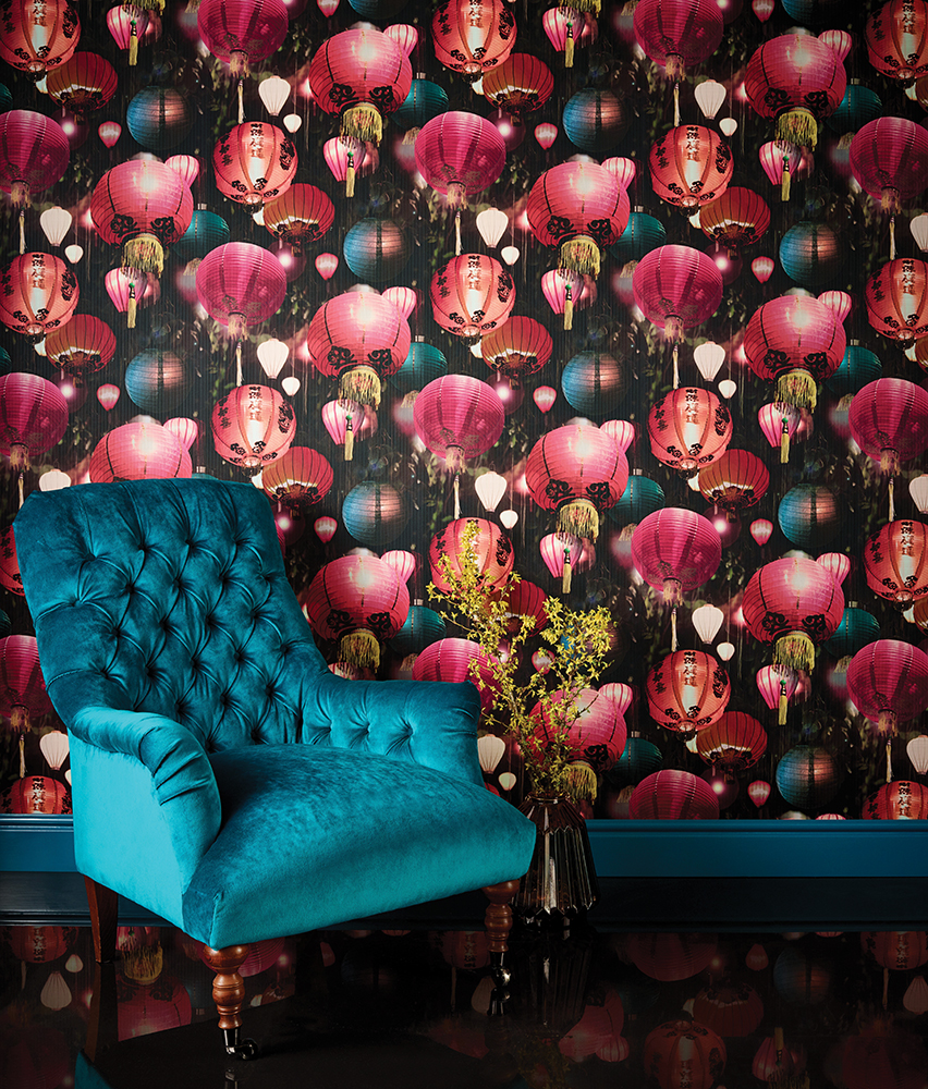 Japanese Lantern Wallpaper Oriental Textured Luxury Vinyl Black Multi Arthouse
