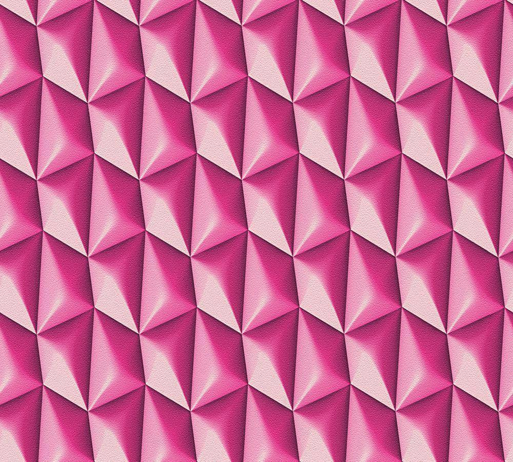 Details About Bright Pink 3D Wallpaper Geometric Retro Textured Vinyl Paste The Wall Feature