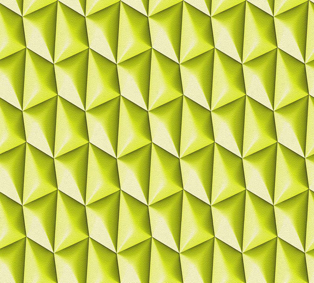 Bright Lime Green 3D Wallpaper Geometric Retro Textured Vinyl Paste The Wall