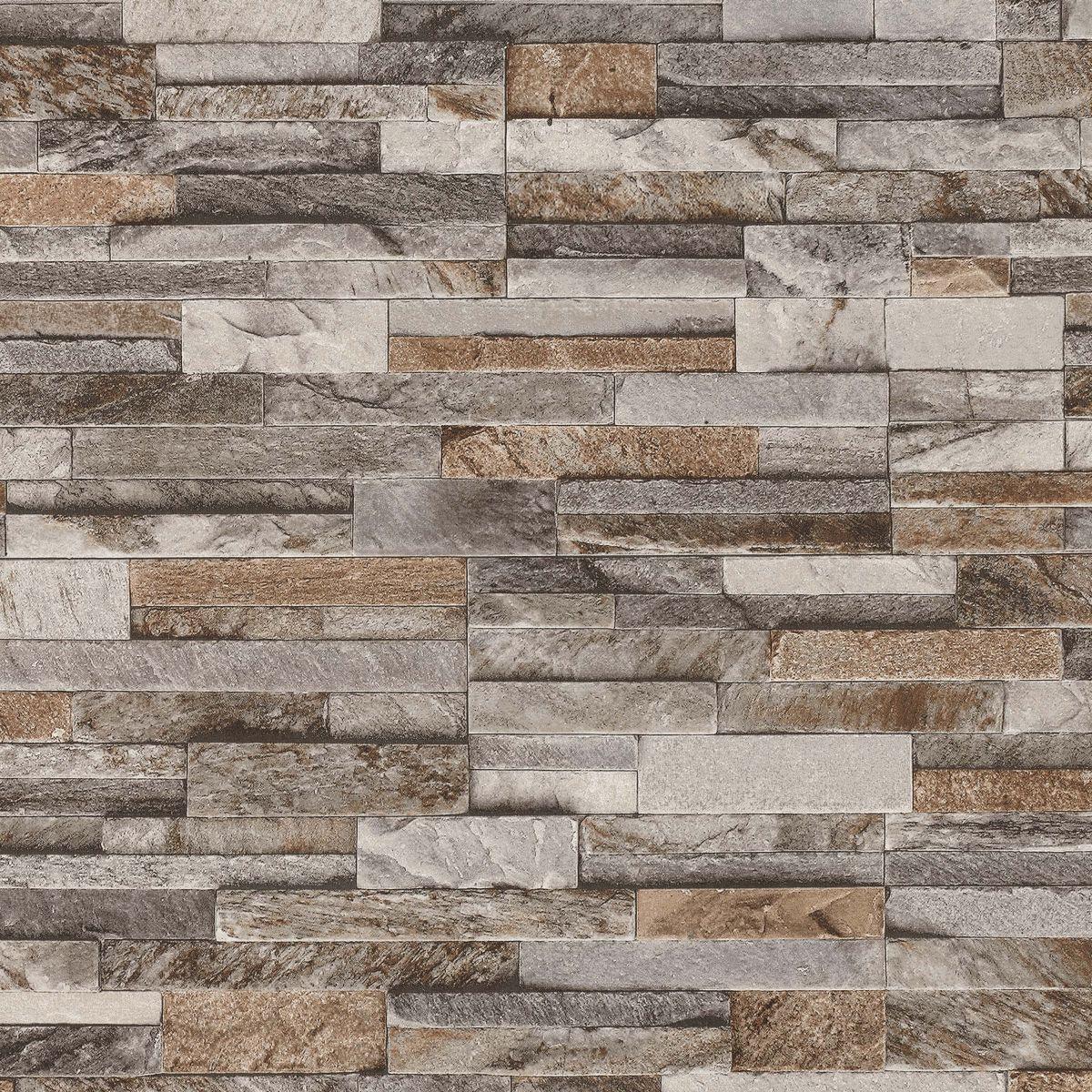 Split Face 3D Slate Brick Stone Effect Vinyl Wallpaper ...