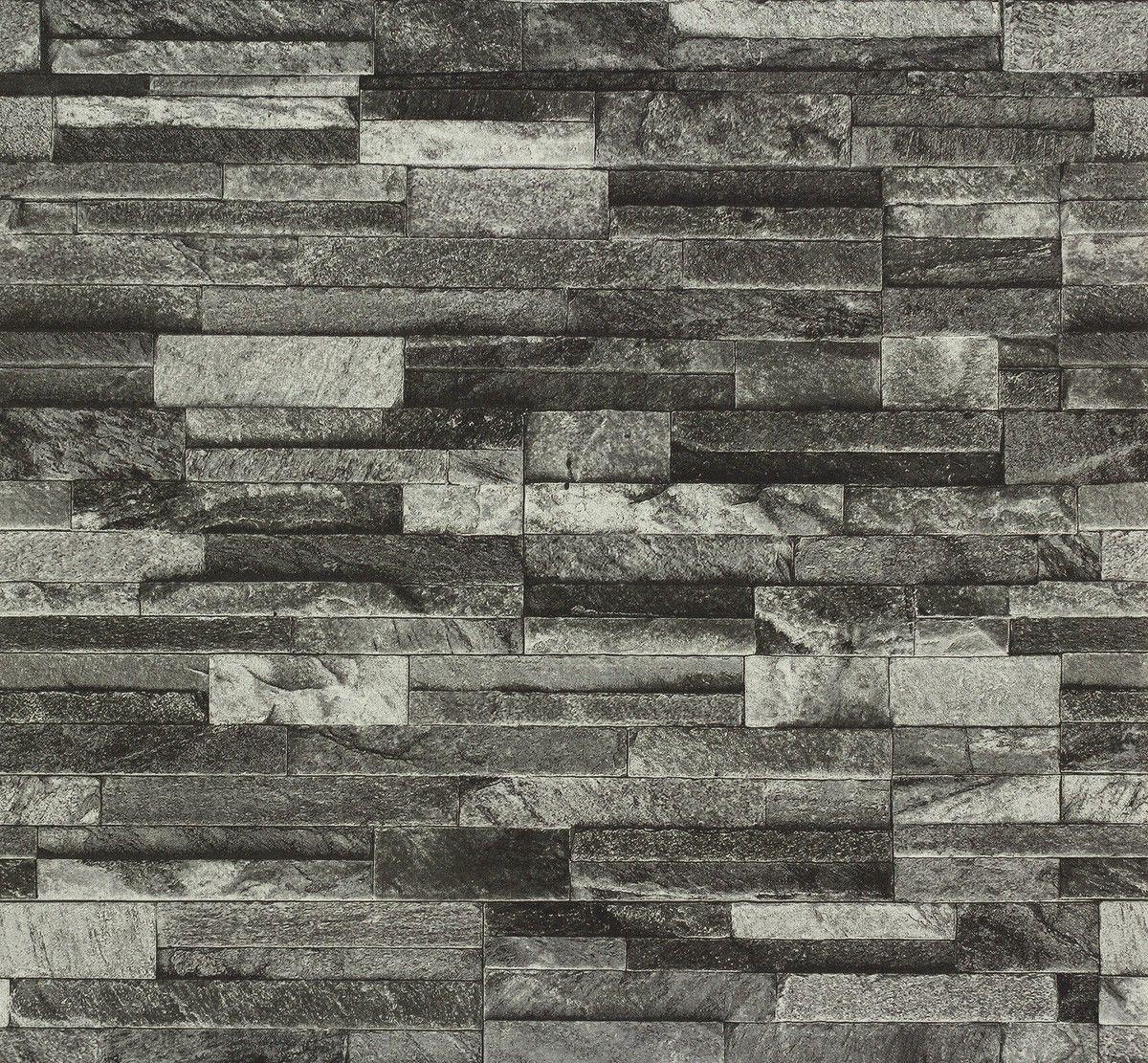 Split Face 3d Slate Brick Stone Effect Vinyl Wallpaper