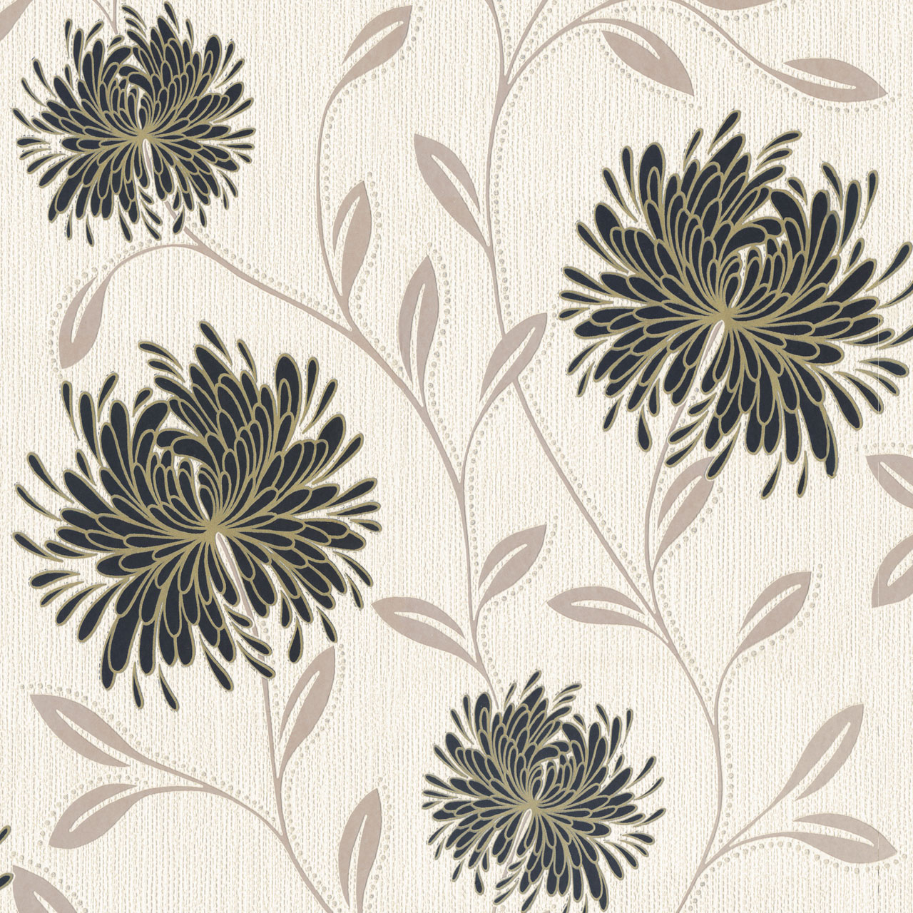 Flower Floral Luxury Textured Embossed Vinyl Wallpaper Glitter Cream Black Gold