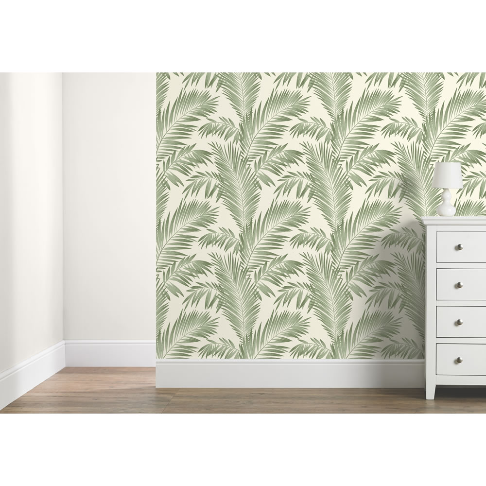 Tropical jungle wallpaper leaf palm leaves trees birds for Arthouse jardin wallpaper