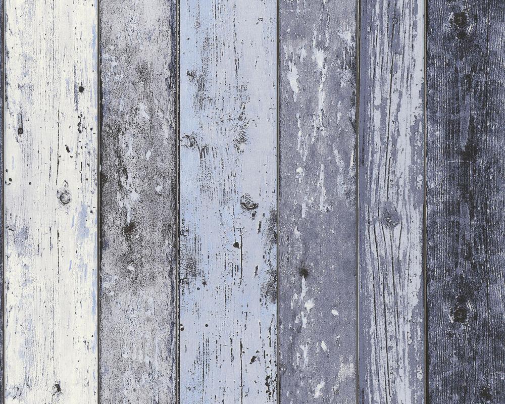 Details About Mixed Blues Blue Wood Effect Wallpaper Distressed Wooden Grain Surf Hut Vinyl
