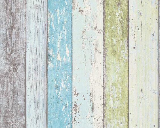 Details About Blue Green Wood Effect Wallpaper Distressed Wooden Grain Surf Beach Hut Vinyl