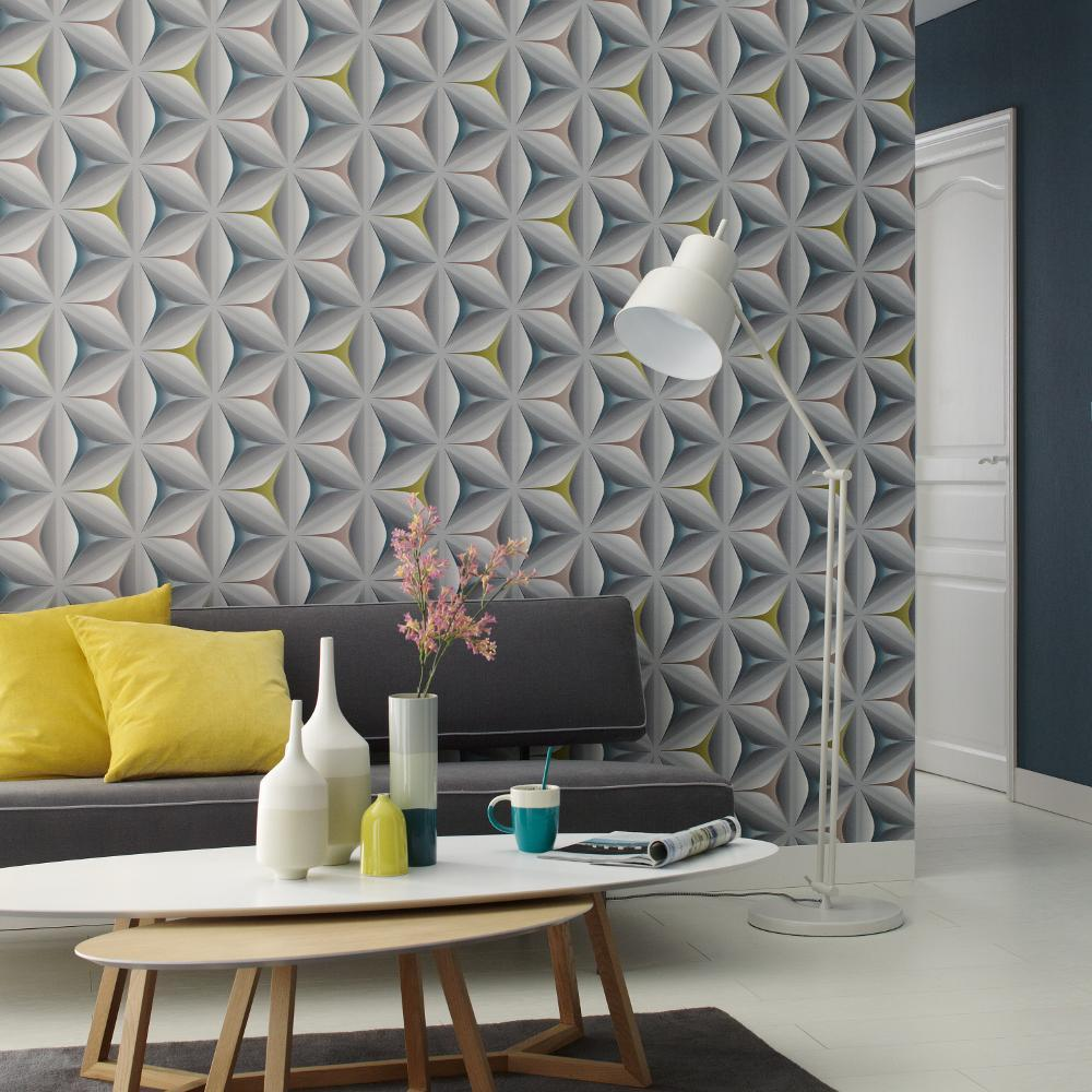 Grey Teal Olive 3d Wallpaper Retro Abstract Embossed Flower Graphic