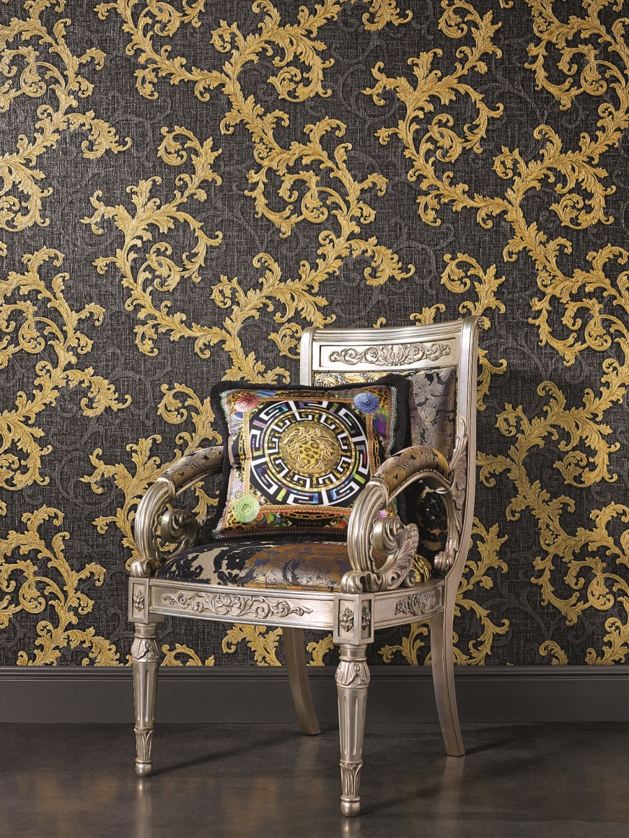 Grey Gold Versace Designer Wallpaper Damask Vinyl Swirl Floral