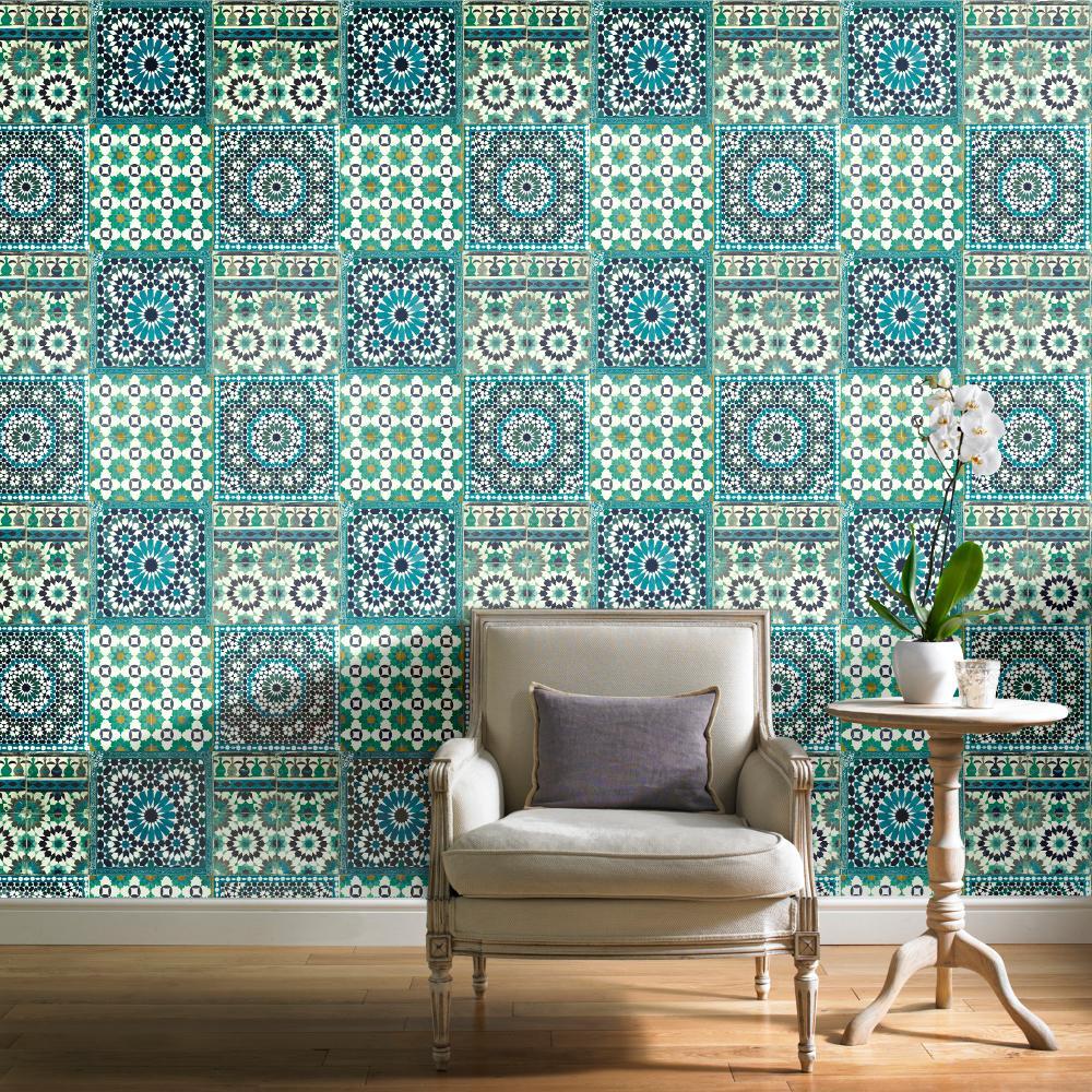 Teal Blue Green Tile Wallpaper Moroccan Botanical Mediterranean Retro Vintage
