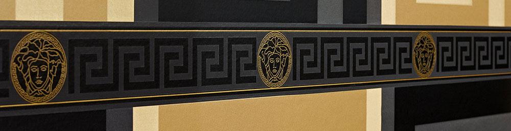 Versace Designer Wallpaper Greek Key Luxury Border Black Gold Satin