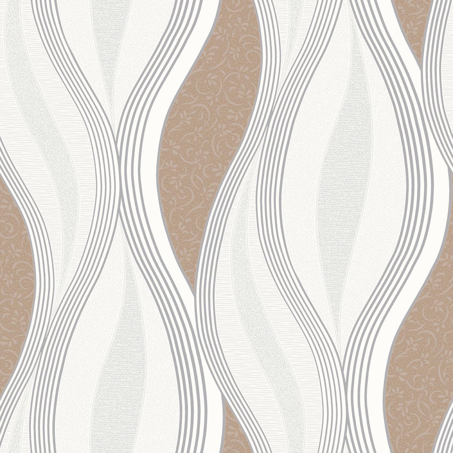 Blown Vinyl Wallpaper Modern Design New Beige Brown And Silver