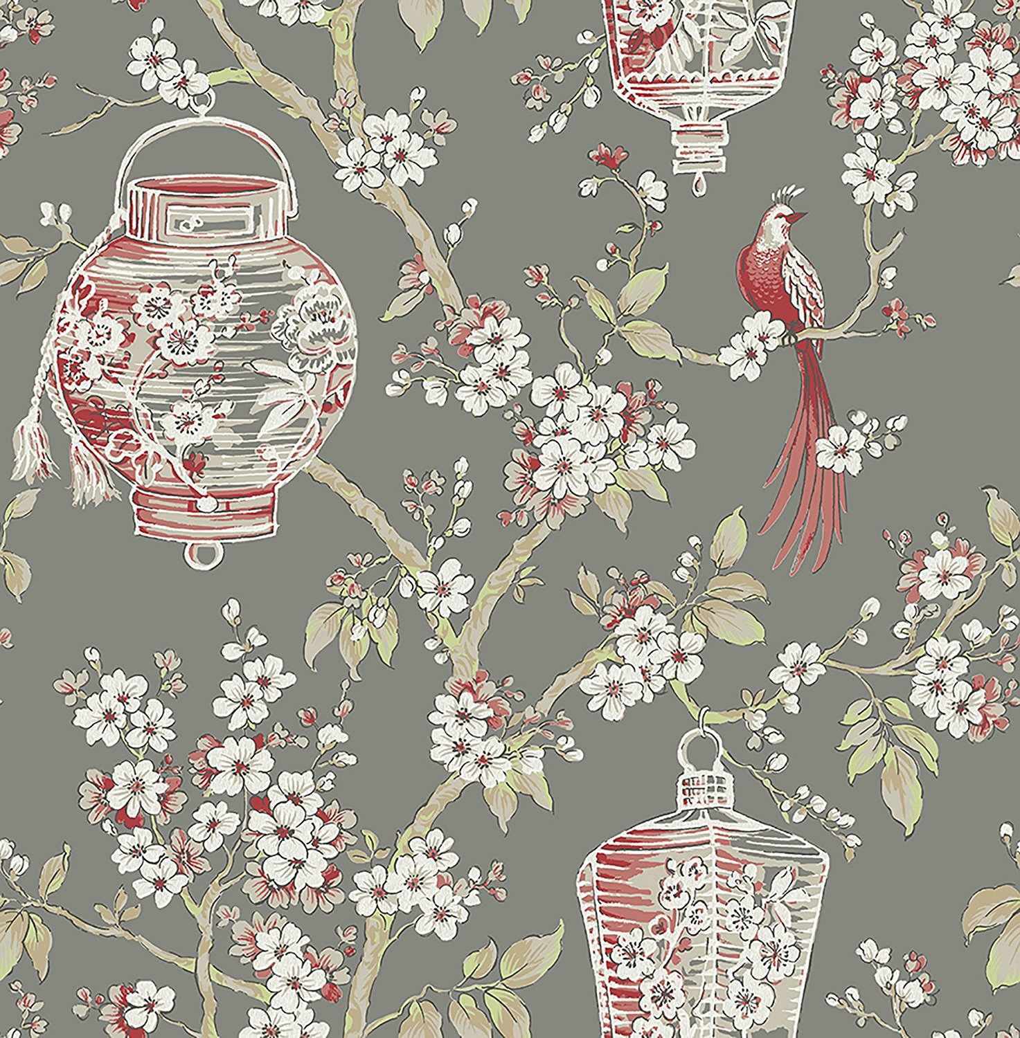 Oriental Lanterns Wallpaper Birds Flowers Floral Paste The Wall A