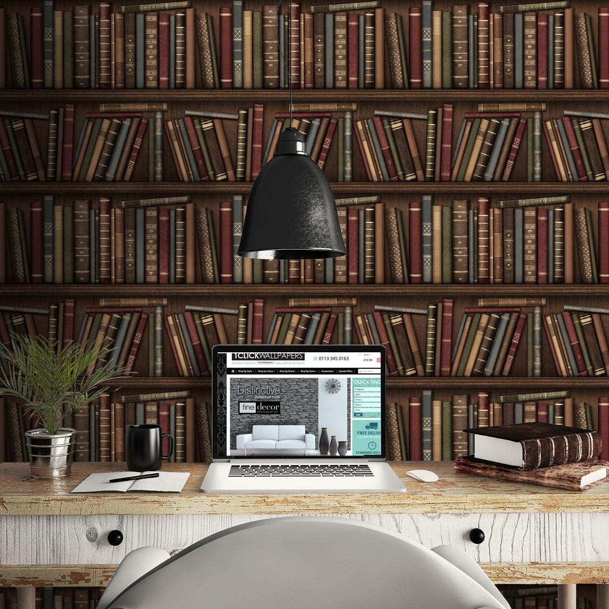 Bookcase library wallpaper antique retro books study for Carta da parati libri