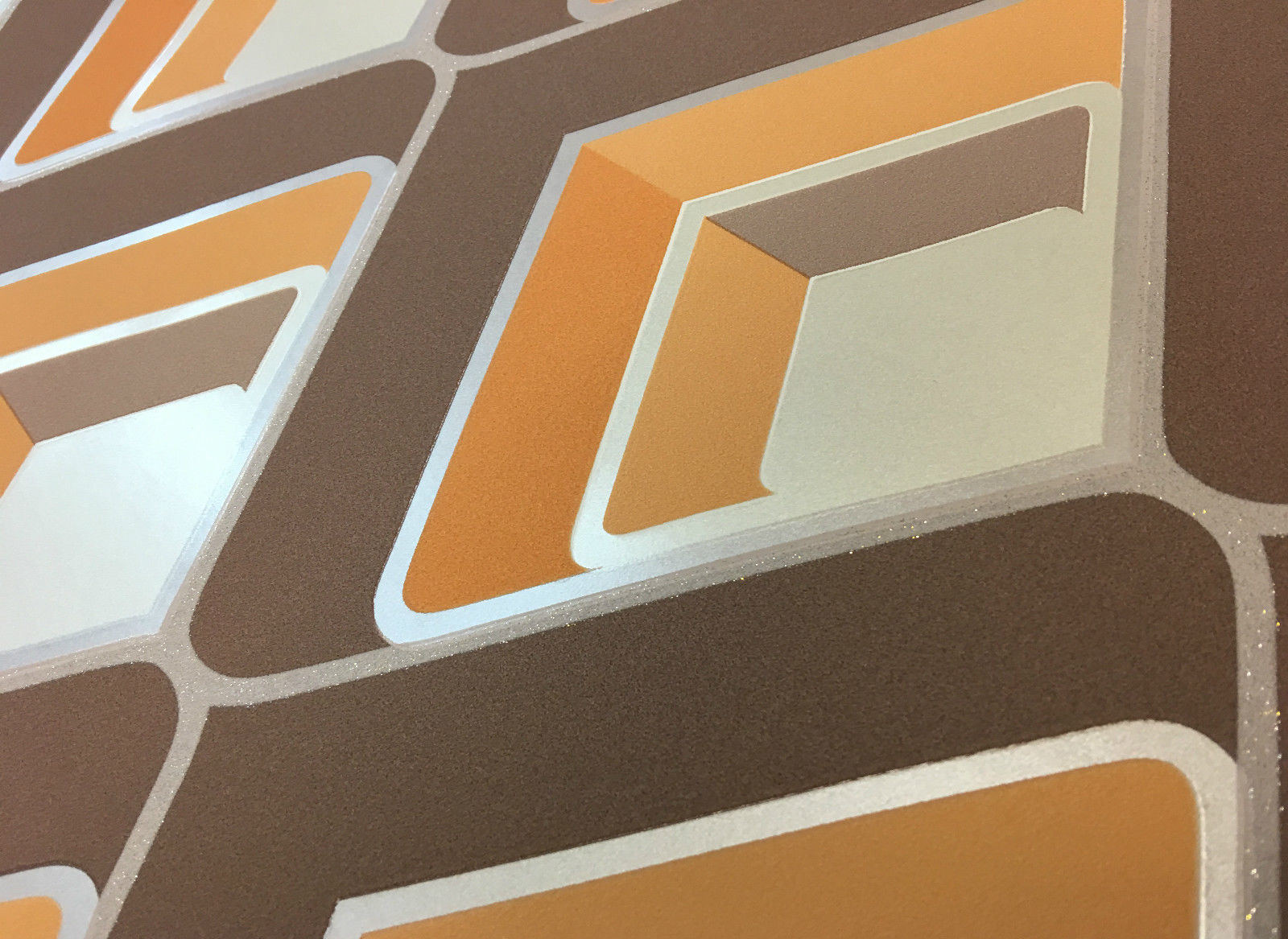 3D Geometric Retro Vintage Bold Metallic Glitter Yellow Grey Silver Wallpaper