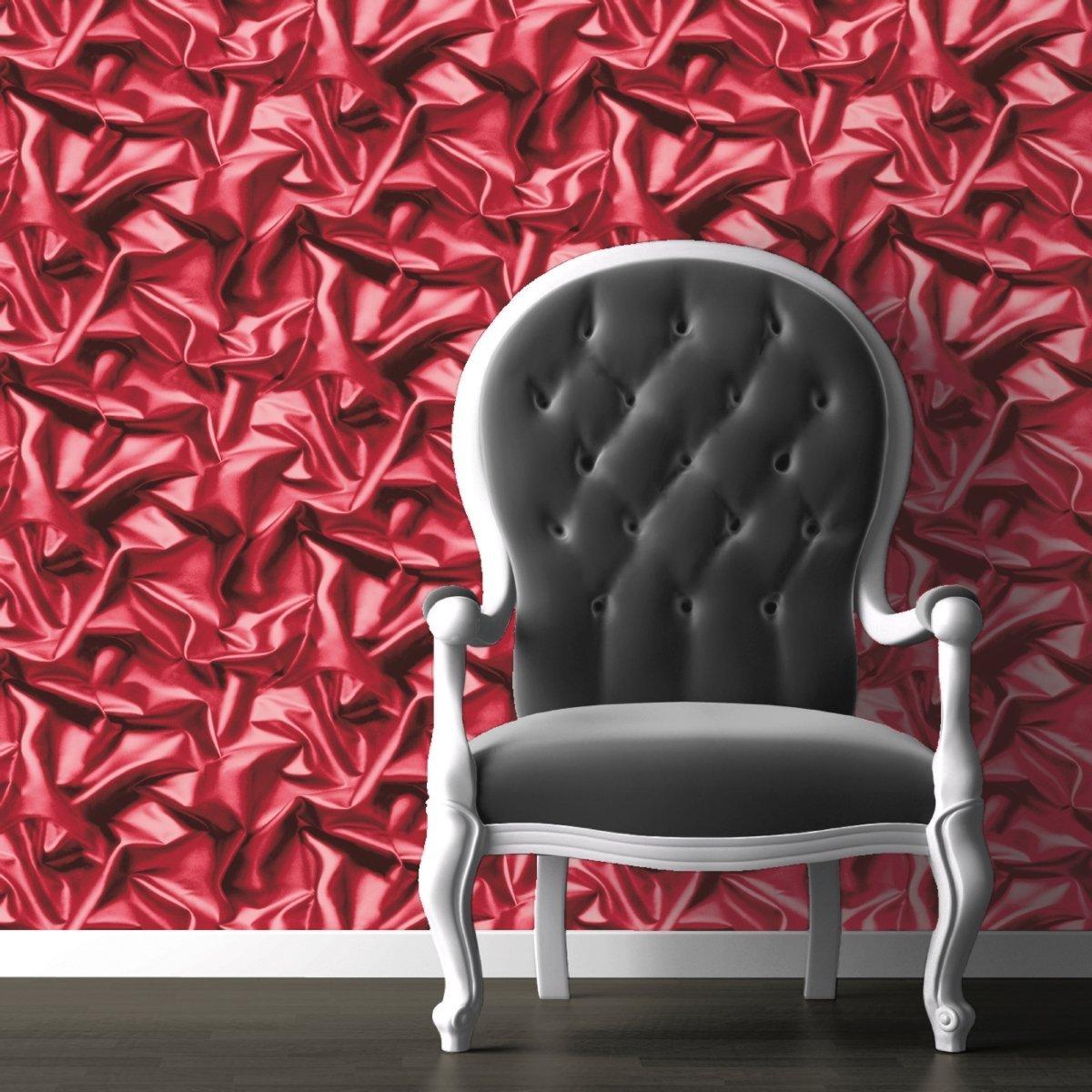 Purple Crushed Velvet Effect Wallpaper 3D Silk Fabric Luxury Heavyweight Feature